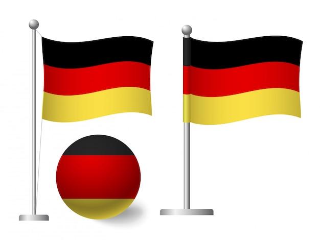 Bandera de alemania en el icono de polo y bola