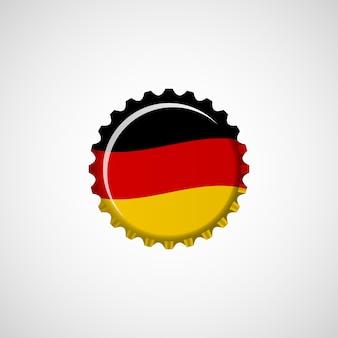 Bandera de alemania en tapa de cerveza