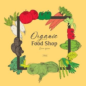 Bandera de alimentos orgánicos dibujados a mano. hierbas y especias orgánicas. dibujos de alimentos saludables para la venta. ilustracion vectorial