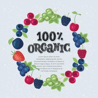 Bandera de alimentos orgánicos. ilustración y letras