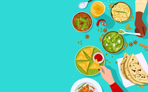 Bandera de alimentos, vista superior de personas disfrutando juntos de la comida india.