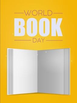 Bandera amarilla del día mundial del libro. libro blanco en blanco