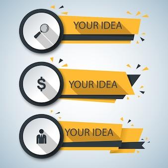 Bandera amarilla de papel - infografía de negocios.