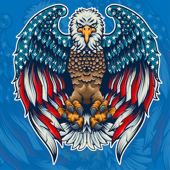 Bandera americana águila dentro