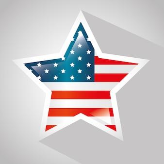 Bandera americana con marco en forma de estrella