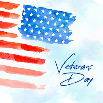 Bandera americana en diseño de acuarela para el día de los veteranos