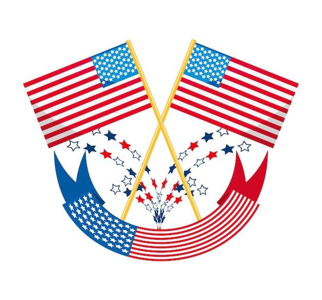 Bandera americana con diseño de decoración de la cinta