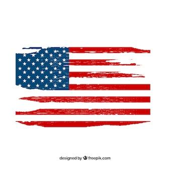 Bandera americana con estilo grunge