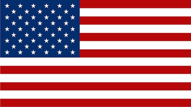 Bandera americana en estilo plano