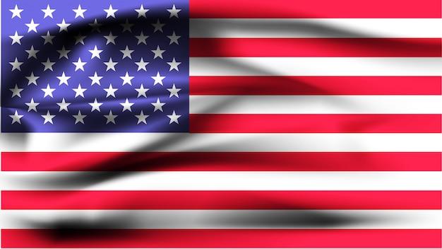 Bandera americana ondeando al viento.