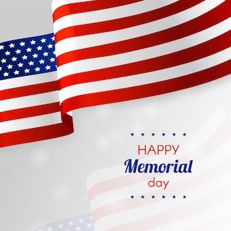 Bandera americana realista feliz día conmemorativo