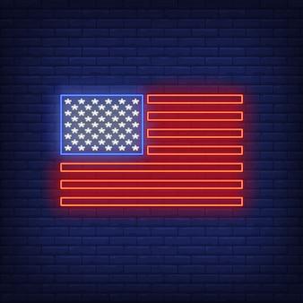 Bandera americana, señal de neón