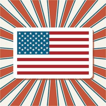 Bandera americana sobre rayos de sol