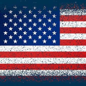 Bandera americana con textura grunge