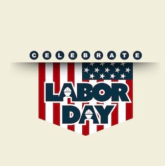 Bandera americana con tipografía celebra el día del trabajo