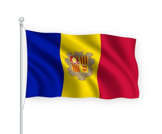 Bandera de andorra en el asta de la bandera aislado en blanco