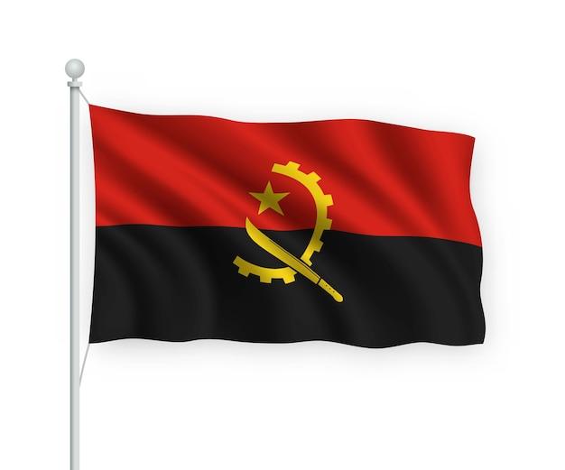 Bandera de angola en el asta de la bandera aislado en blanco