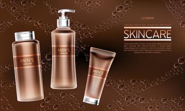 Bandera de anuncio de vector realista de productos cosméticos para hombre