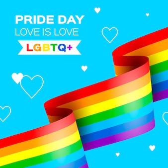 Bandera del arco iris de la celebración del día del orgullo