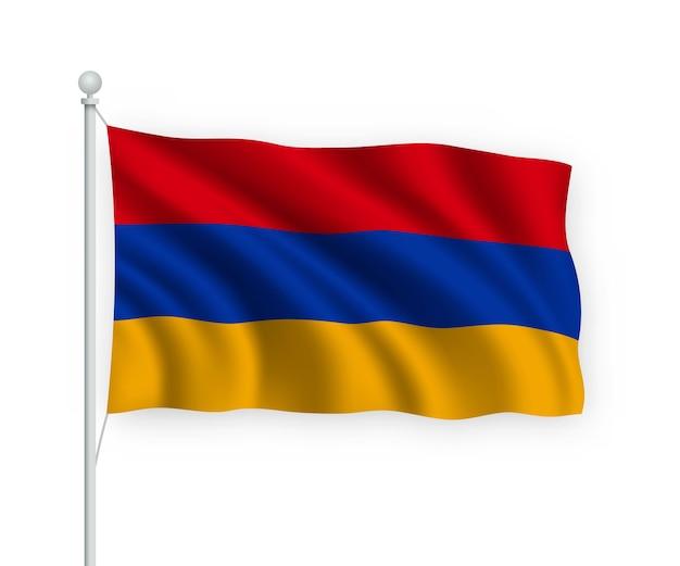 Bandera de armenia en el asta de la bandera aislado en blanco