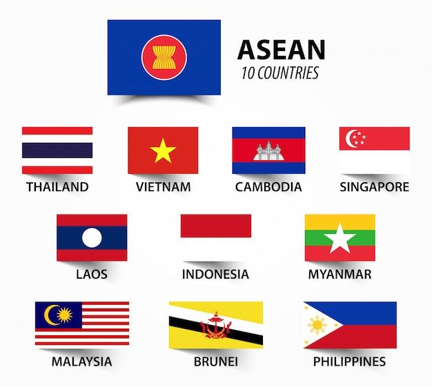 Bandera de asean y membresía.