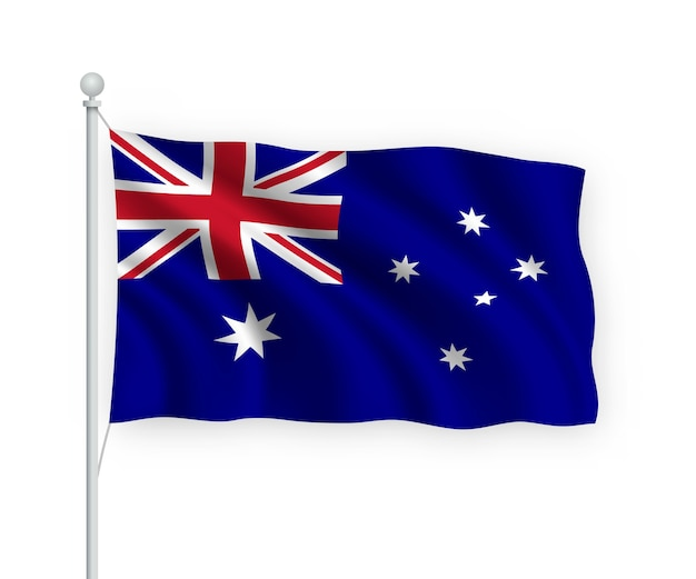 Bandera de australia en el asta de la bandera aislado en blanco