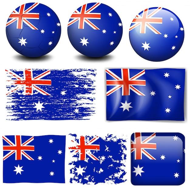 Bandera de australia en la ilustración de diferentes elementos