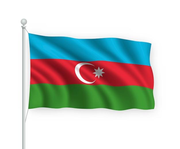 Bandera de azerbaiyán en el asta de la bandera aislado en blanco