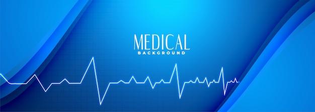 Bandera azul de ciencia médica con línea de latidos