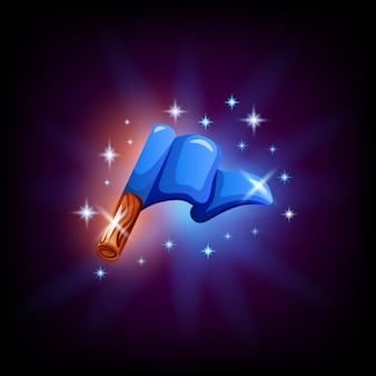 Bandera azul en el elemento de interfaz gráfica de usuario para el diseño del juego o aplicación móvil sobre fondo oscuro. iniciar o finalizar icono en estilo de dibujos animados