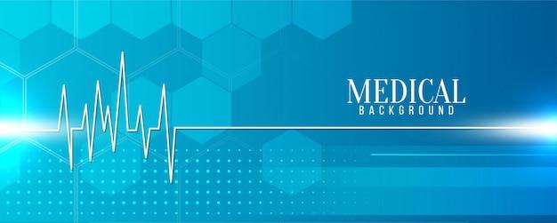Bandera azul médica moderna con línea de vida
