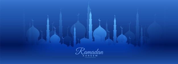 Bandera azul de ramadan kareem con diseño de mezquita