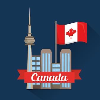 Bandera de la bandera de ciudad toronto canadá