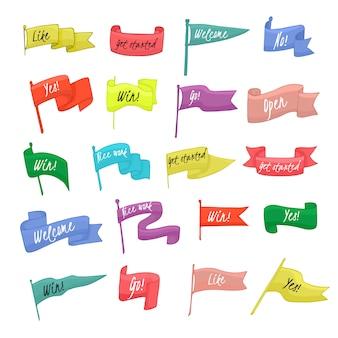 Bandera bandera vector agitó signo de decoración con texto diseño ilustración conjunto