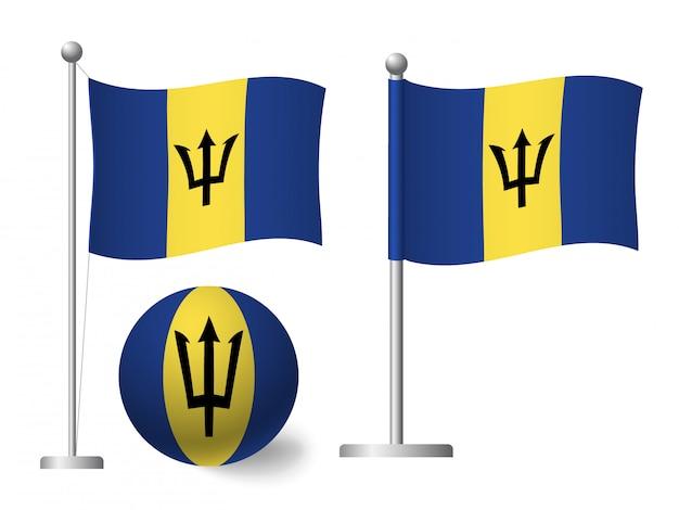 Bandera de barbados en icono de polo y bola