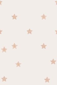 Bandera beige de patrón de estrellas metálicas de oro rosa