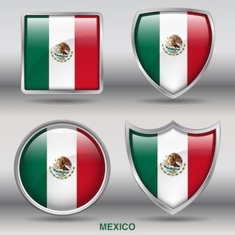 Bandera de bisel del país 4 formas icono