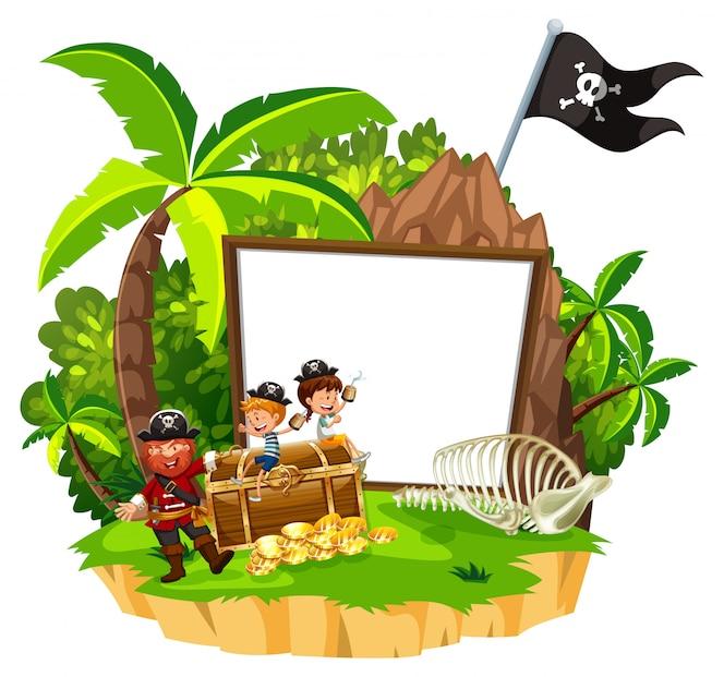 Bandera blanca de pirata y niños