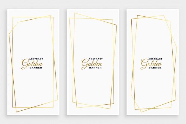 Bandera blanca con diseño de marcos de líneas geométricas doradas