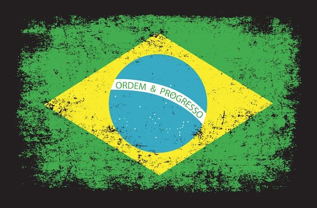 Bandera de brasil en estilo grunge