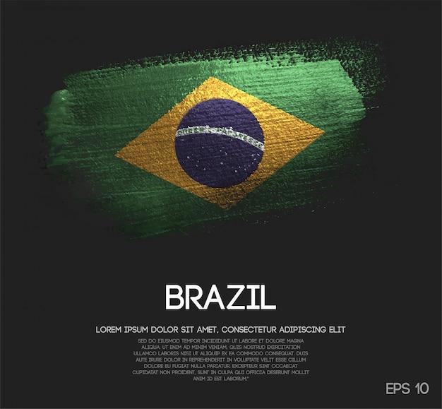 Bandera de brasil hecha de glitter sparkle brush paint vector