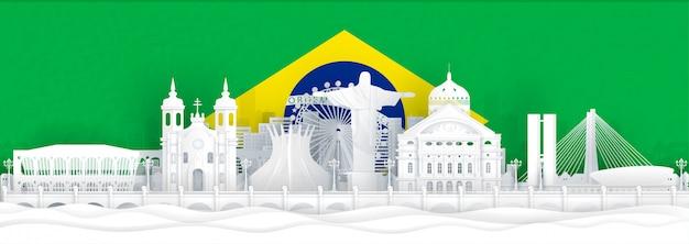Bandera de brasil y monumentos famosos en estilo de corte de papel.