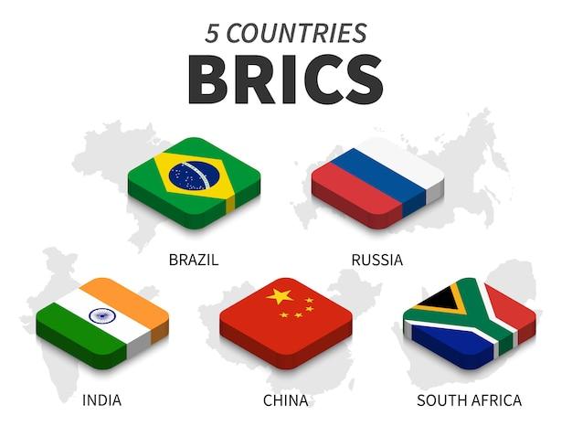 Bandera brics. asociación de 5 países y mapa sobre fondo blanco. diseño superior isométrico. vector
