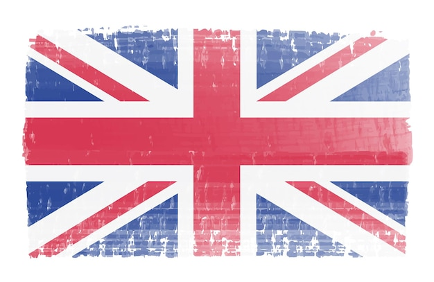 Bandera británica de trazo de pincel de acuarela