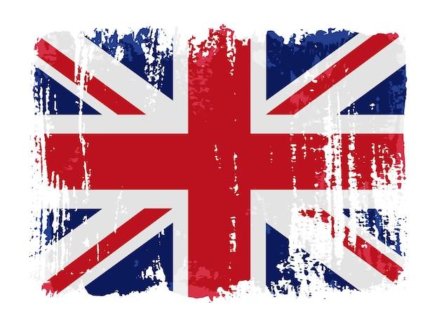Bandera británica de trazo de pincel grunge