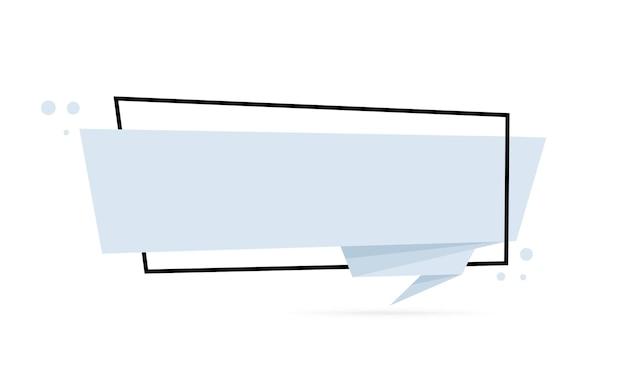Bandera de burbujas de discurso de estilo origami. plantilla de diseño de pegatinas. en blanco para su texto. vector eps 10. aislado sobre fondo blanco.