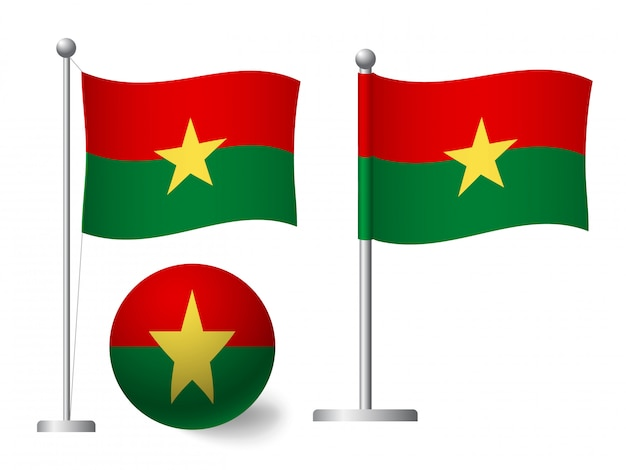 Bandera de burkina faso en icono de polo y bola