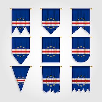 Bandera de cabo verde en diferentes formas, bandera de cabo verde en varias formas