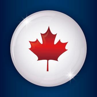 Bandera de canadá en círculo de forma