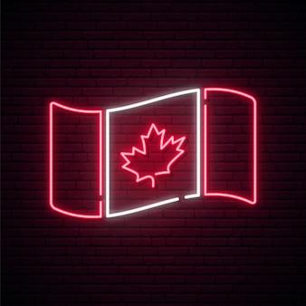 Bandera canadiense de neón.